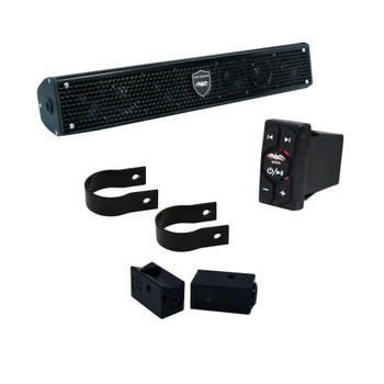 """Wet Sounds - Stealth 6 Surge Amplified Soundbar with Round 1.50"""" Pipe Mounting Hardware & WW-BTRS Bluetooth Receiver"""