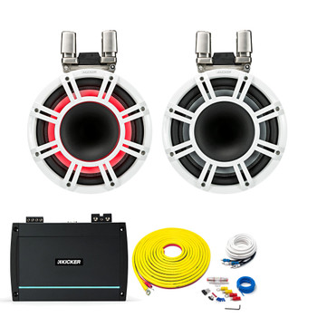 """Kicker KMTC11 White 11"""" HLCD Tower System with Kicker KXMA1200.2 Amplifier, 7 Meter Power Wire Kit and 4 Meter RCAs"""