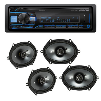 """Alpine UTE-73BT Bluetooth Receiver (No CD), and Two Pairs of Kicker 43CSC684 6x8"""" / 5x7"""" Coaxial Speakers"""