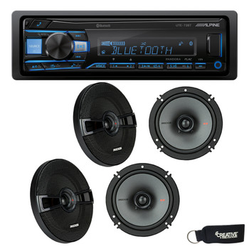 """Alpine UTE-73BT Bluetooth Receiver (No CD), and Two Pairs of Kicker 44KSC6504 6.5"""" Coaxial Speakers"""