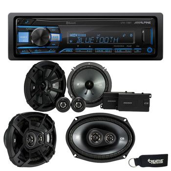 """Alpine UTE-73BT Bluetooth Receiver (No CD), a Pair of Kicker 43CSS654 6.5"""" Components, and 43CSC6934 6x9"""" Speakers"""