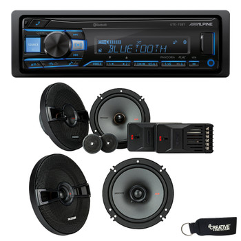 """Alpine UTE-73BT Bluetooth Receiver (No CD), a Pair of Kicker 44KSS6504 6.5"""" Components, and 44KSC6504 6.5"""" Speakers"""