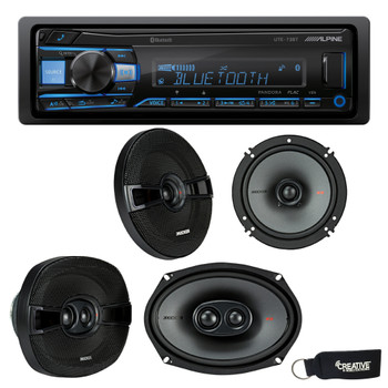 """Alpine UTE-73BT Bluetooth Receiver (No CD), a Pair of Kicker 44KSC6504 6.5"""" Speakers, and 44KSC69304 6x9"""" Speakers"""