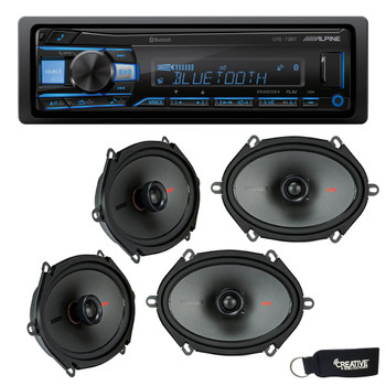 """Alpine UTE-73BT Bluetooth Receiver (No CD), and Two Pairs of Kicker 44KSC6804 6x8"""" / 5x7"""" Coaxial Speakers"""