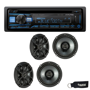 "Alpine CDE-172BT CD Receiver with Bluetooth, and Two Pairs of Kicker 43CSC654 6.5"" Speakers"