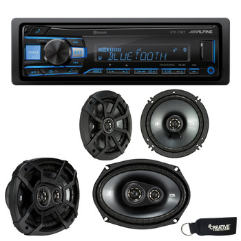 "Alpine UTE-73BT Bluetooth Receiver (No CD), a Pair of Kicker 43CSC654 6.5"" Speakers, and 43CSC6934 6x9"" Speakers"
