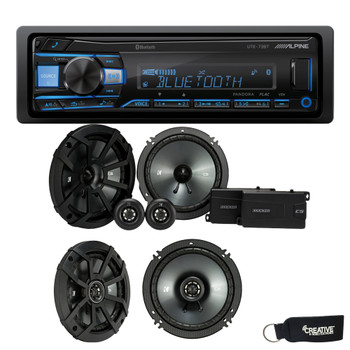 "Alpine UTE-73BT Bluetooth Receiver (No CD), a Pair of Kicker 43CSS654 6.5"" Components, and 43CSC654 6.5"" Speakers"