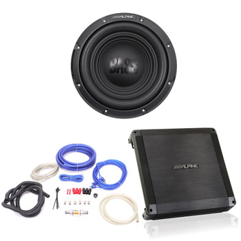 Alpine BBX-T600 Amplifier and W10S4 10-inch Single 4 Ohm Subwoofer - Includes wire kit