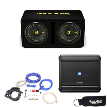 """Alpine MRV-M500 Amplifier and a Kicker DCWC102 Dual CompC 10"""" Subwoofers in Ported Enclosure 2-Ohm - Includes wire kit"""