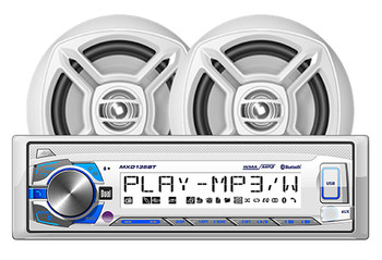 """UTV Marine Bluetooth Audio Kit with Dual Receiver w/ USB, Aux (no CD) 2 6.5"""" Speakers w/ Tower Roll Bar White Enclosures"""