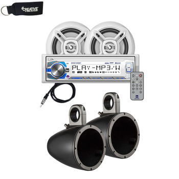 "UTV Marine Bluetooth Audio Kit with Dual Receiver w/ USB, Aux (no CD) 2 6.5"" Speakers w/ Tower Roll Bar Black Enclosures"