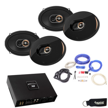 "Infinity - Two Pairs Of KAPPA-93IX 6x9"" Coax Speakers + ARC X2 450.4 500 Watt 4 Channel Amplifier + Wiring Kit"