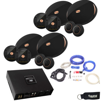 "Infinity - Two Pairs Of KAPPA-90CSX 6x9"" Component Speakers + ARC X2 450.4 500 Watt 4 Channel Amplifier + Wiring Kit"