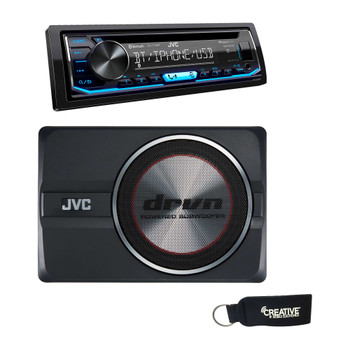 "JVC KD-T700BT CD Receiver w/ Bluetooth,USB, Pandora, Spotify, 13-Band EQ & JVC CW-DRA8 drvn 8"" Compact Powered Subwoofer"