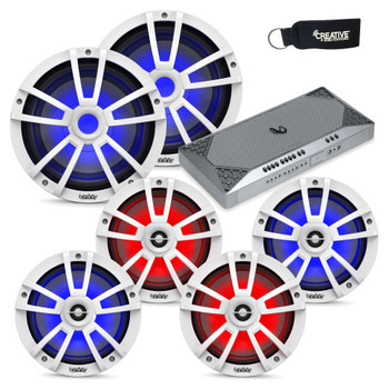 """Infinity Marine System - Two pairs of 822MLW 8"""" LED speakers, 2 1022MLW 10"""" LED Subwoofers, & M4555A Amplifier - White"""