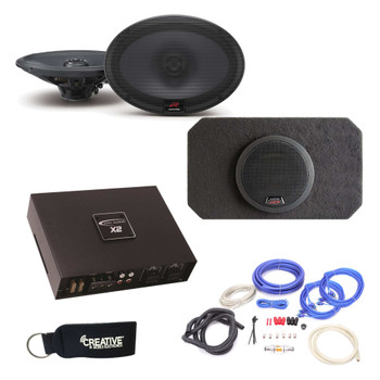 Alpine Type-R R-S69 6X9 Coaxial Speakers and SBR-S8-4 8 Inch Enclosure Arc Audio X2450.4 4-Channel Amplifier & wire kit