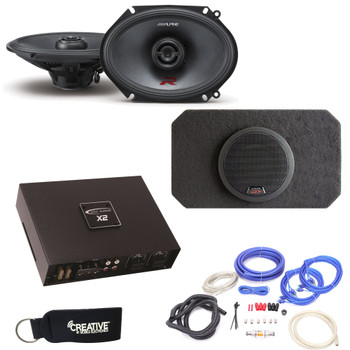 Alpine Type-R R-S68 6X8 Coaxial Speakers and SBR-S8-4 8 Inch Enclosure Arc Audio X2450.4 4-Channel Amplifier & wire kit