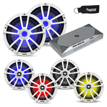"""Infinity Marine System - Two pairs of 622MLW 6.5"""" LED speakers, 2 1022MLW 10"""" LED Subwoofers, & M4555A Amplifier - White"""