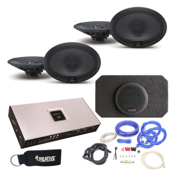 """Alpine Type-R R-S69 6X9"""" (2 Pair) Speakers with SBR-S8-4 8"""" Subwoofer, Arc Audio X2-1200.6 6-Channel Amp & wire kit"""