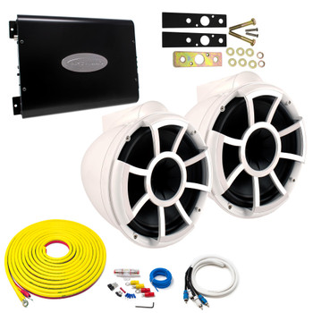 "Wet Sounds REV10W-X White 10"" Tower Speakers With Arc Audio KS-600.2 Amplifier with Wiring Kit"