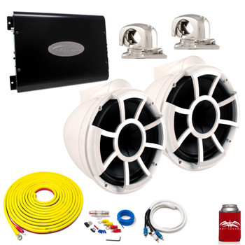 "Wet Sounds REV10W-SC White 10"" Tower Speakers With Arc Audio KS-600.2 Amplifier with Wiring Kit"