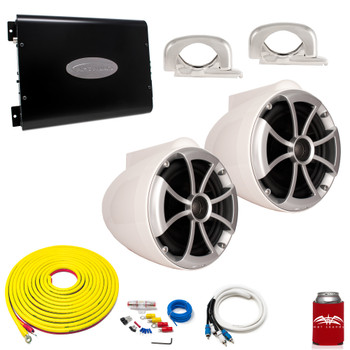 "Wet Sounds ICON8W-FC White 8"" Tower Speakers With Arc Audio KS-300.2 Amplifier with Wiring Kit"