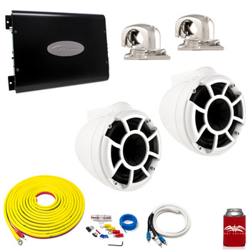 "Wet Sounds REV8W-SC White 8"" Tower Speakers With Arc Audio KS-300.2 Amplifier with Wiring Kit"