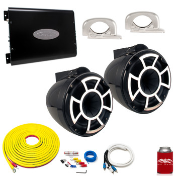"Wet Sounds REV8B-FC Black 8"" Tower Speakers With Arc Audio KS-300.2 Amplifier with Wiring Kit"