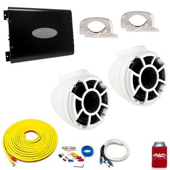 "Wet Sounds REV8W-FC White 8"" Tower Speakers With Arc Audio KS-300.2 Amplifier with Wiring Kit"