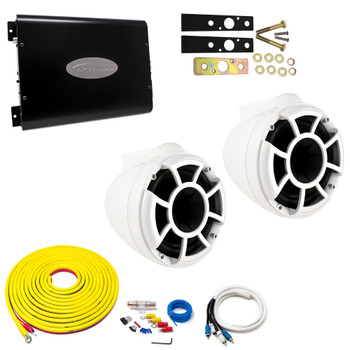 "Wet Sounds REV8W-X White 8"" Tower Speakers With Arc Audio KS-300.2 Amplifier with Wiring Kit"