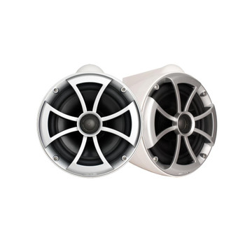 "Wet Sounds ICON8W-X White 8"" Tower Speakers With Arc Audio KS-300.2 Amplifier with Wiring Kit"