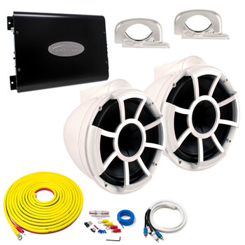 """Wet Sounds REV10W-FC White 10"""" Tower Speakers With Arc Audio KS-600.2 Amplifier with Wiring Kit"""