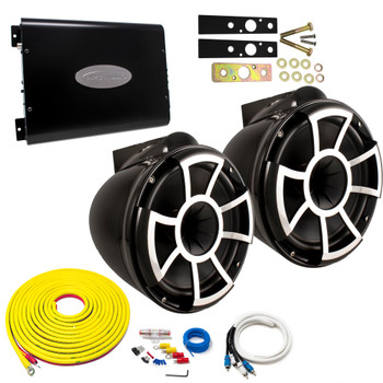"Wet Sounds REV10B-X Black 10"" Tower Speakers With Arc Audio KS-600.2 Amplifier with Wiring Kit"