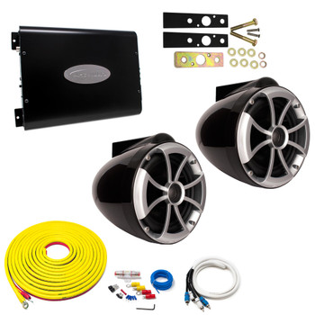 "Wet Sounds ICON8B-X Black 8"" Tower Speakers With Arc Audio KS-300.2 Amplifier with Wiring Kit"