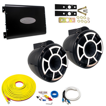 "Wet Sounds REV8B-X Black 8"" Tower Speakers With Arc Audio KS-300.2 Amplifier with Wiring Kit"