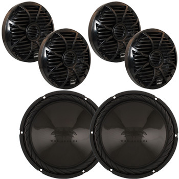 Wet Sounds - Two Pairs of SW-650-B Black Marine Speakers & Two SS-10BS4 Black Series 4-Ohm Subwoofers