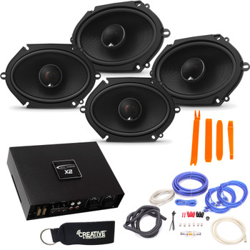 JBL - 2 Pairs Of Stadium GTO860 6x8/5x7-Inch Speakers + ARC Audio X2 450.4 500 Watt 4 Channel Amplifier + Wiring Kit