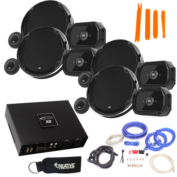 JBL - 2 Pairs Of Stadium GTO960C 6x9-Inch Component Speakers + ARC Audio X2 450.4 500 Watt 4 Channel Amp + Wiring Kit