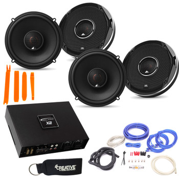JBL - 2 Pairs Of Stadium GTO620 6.5-Inch Coax Speakers + ARC Audio X2 450.4 500 Watt 4 Channel Amplifier + Wiring Kit