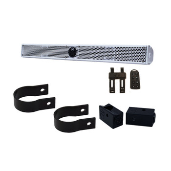 """Wet Sounds Refurbished Stealth 10 Ultra HD White Amplified Soundbar with Remote + 2"""" Pipe Clamps & Sliders"""