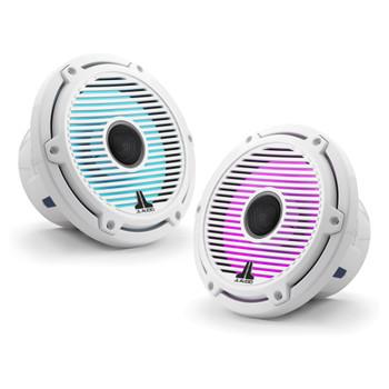 JL Audio 7.7-Inch M6 Marine Coaxial Speaker System, RGB LED, Gloss White, Classic Grille - SKU: M6-770X-C-GwGw-i