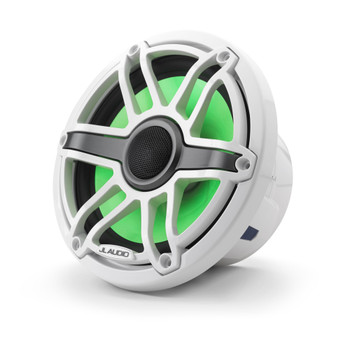 JL Audio 7.7-Inch M6 Marine Coaxial Speaker System, RGB LED, Gloss White, Sport Grille - SKU: M6-770X-S-GwGw-i