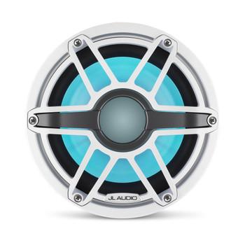 JL Audio 8-Inch M6 Marine Infinite Baffle Subwoofer, RGB LED, Gloss White, Sport Grille - SKU: M6-8IB-S-GwGw-i-4