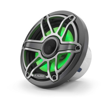 JL Audio 6.5-Inch M6 Marine Coaxial Speaker System, RGB LED, Gunmetal & Titanium, Sport Grille - SKU: M6-650X-S-GmTi-i