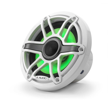 JL Audio 6.5-Inch M6 Marine Coaxial Speaker System, RGB LED, Gloss White, Sport Grille - SKU: M6-650X-S-GwGw-i