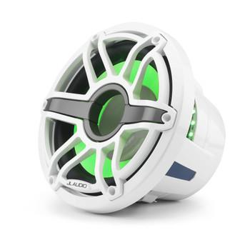 JL Audio 10-Inch M6 Marine Infinite Baffle Subwoofer, RGB LED, Gloss White, Sport Grille - SKU: M6-10IB-S-GwGw-i-4