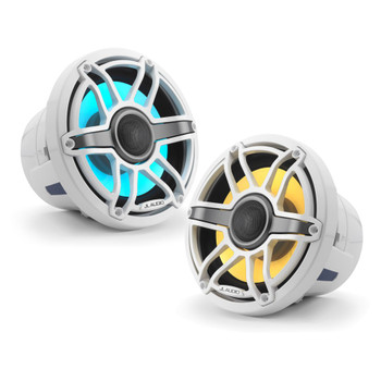 JL Audio 8.8-Inch M6 Marine Coaxial Speaker System, RGB LED, Gloss White, Sport Grille - SKU: M6-880X-S-GwGw-i