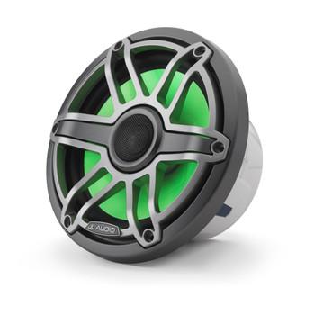 JL Audio 7.7-Inch M6 Marine Coaxial Speaker System, RGB LED, Gunmetal & Titanium, Sport Grille - SKU: M6-770X-S-GmTi-i