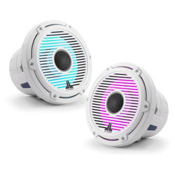 JL Audio 8.8-Inch M6 Marine Coaxial Speaker System, RGB LED, Gloss White, Classic Grille - SKU: M6-880X-C-GwGw-i