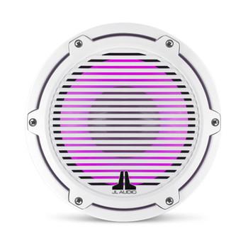JL Audio 8-Inch M6 Marine Infinite Baffle Subwoofer, RGB LED, Gloss White, Classic Grille - SKU: M6-8IB-C-GwGw-i-4